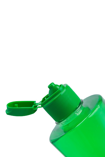 istock open bottle with green gel inside, isolated on white, space for inscription 1127147772
