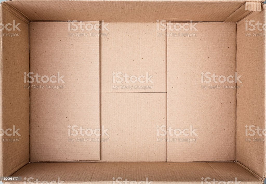 Empty cardboard box close-up.
