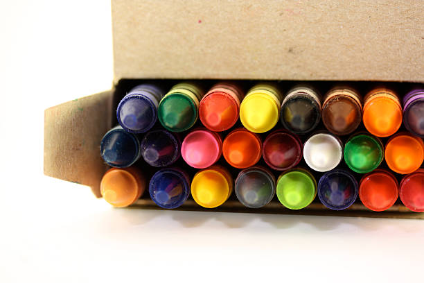 Open Box of Crayons stock photo