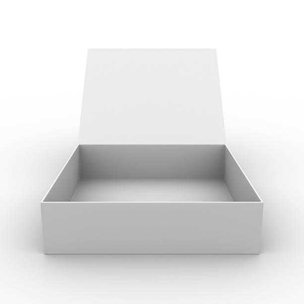 otwórz pudełko na białym tle.  pusta obrazu 3d - puste pudełko zdjęcia i obrazy z banku zdjęć