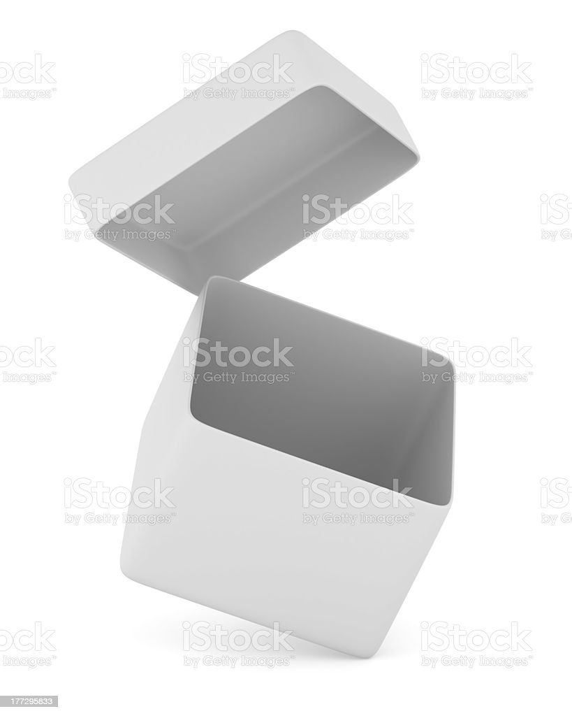 Open box on white background. Isolated 3D image royalty-free stock photo