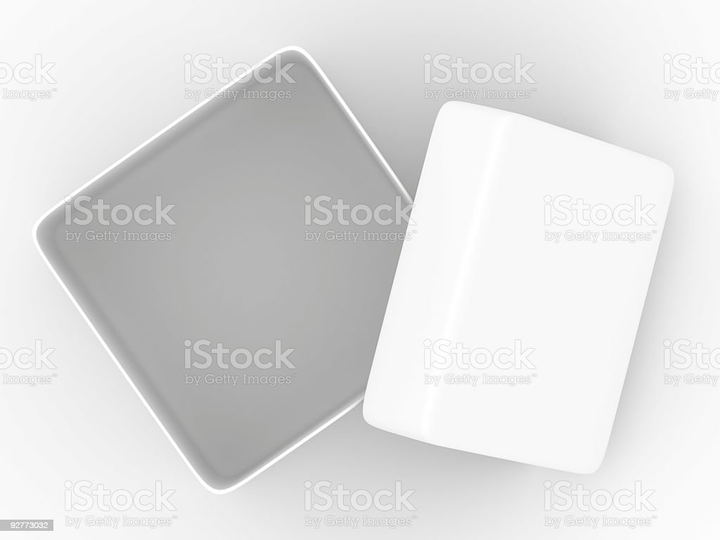 Open box on white background. top view. Isolated 3D image royalty-free stock photo