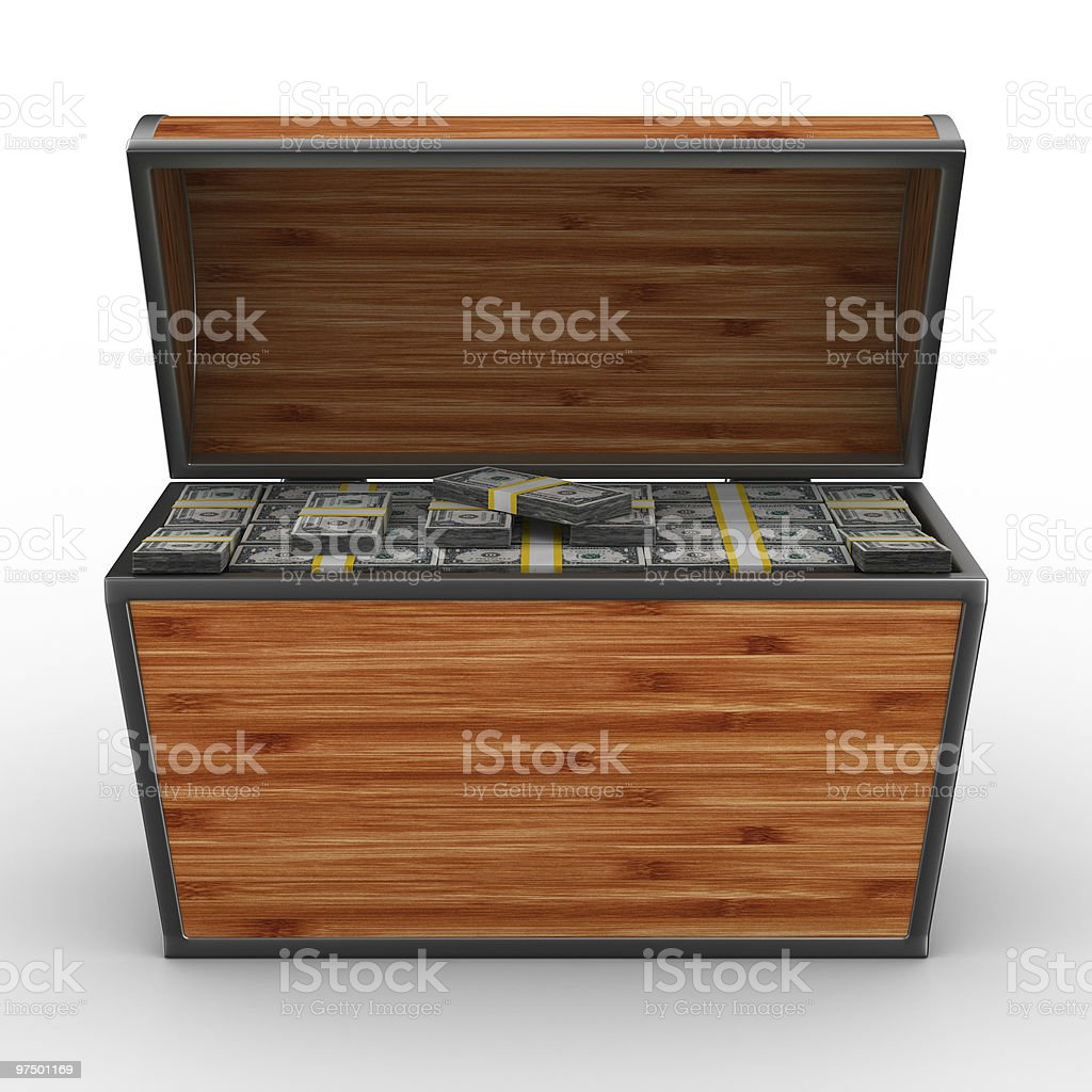 Open box with dollars on white background. Isolated 3D image. royalty-free stock photo