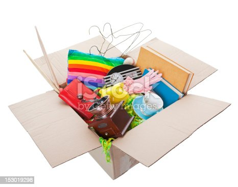 istock Open box with various household items inside 153019298