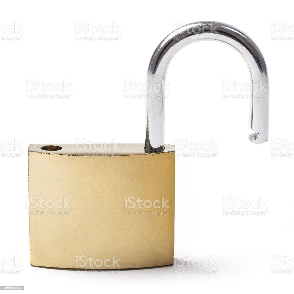 Open Brass Padlock on White stock photo