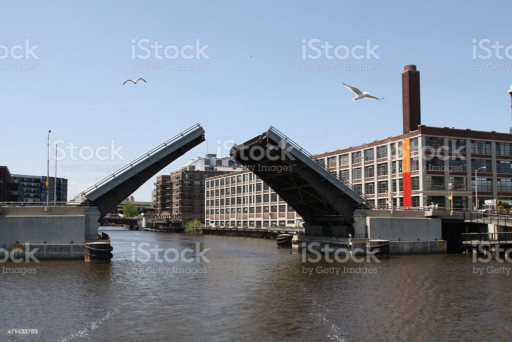 Open Bridge For Boat Traffic Over MIlwuakee River stock photo