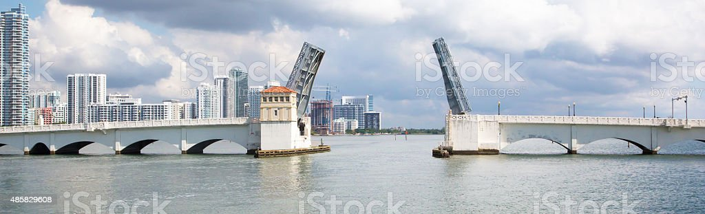 Open bridge  in Miami stock photo