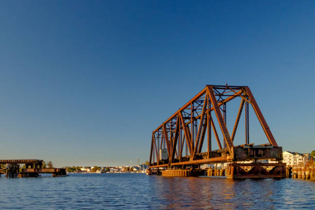 Open Bridge Looking Onto the Waterfront stock photo