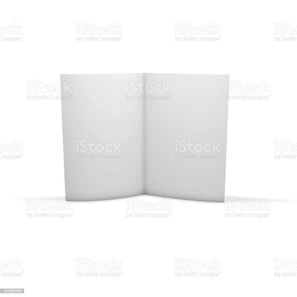 Open brochure, advertising flier publication, isolated on white standing. stock photo