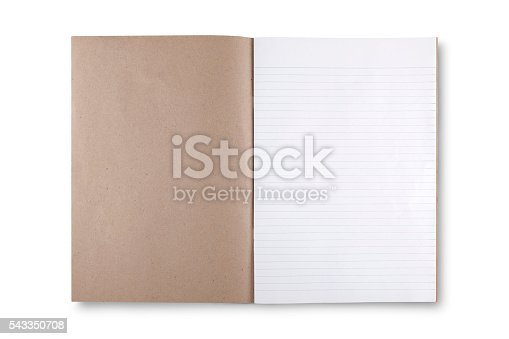 istock open brown book on white background 543350708