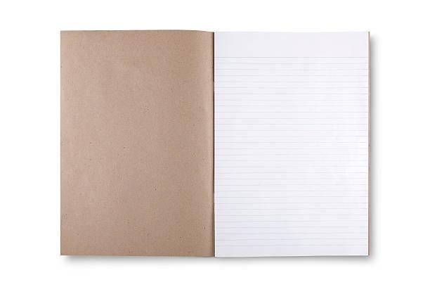 open brown book on white background - planner inserts stock-fotos und bilder