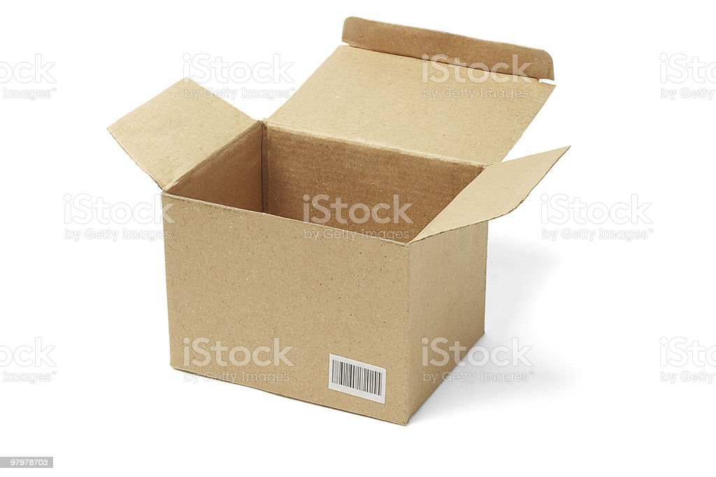 Open brown cardboard box royalty-free stock photo