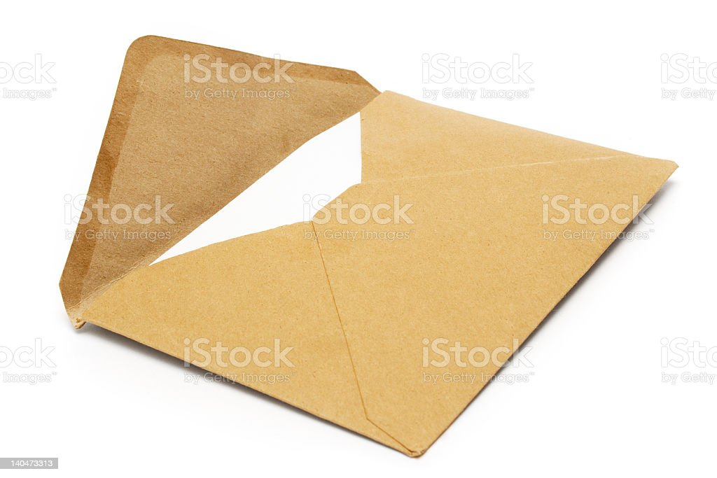 Open brown envelope isolated on white stock photo
