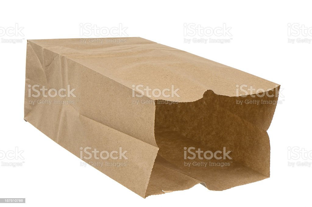 Open brown paper lunch bag on white background royalty-free stock photo