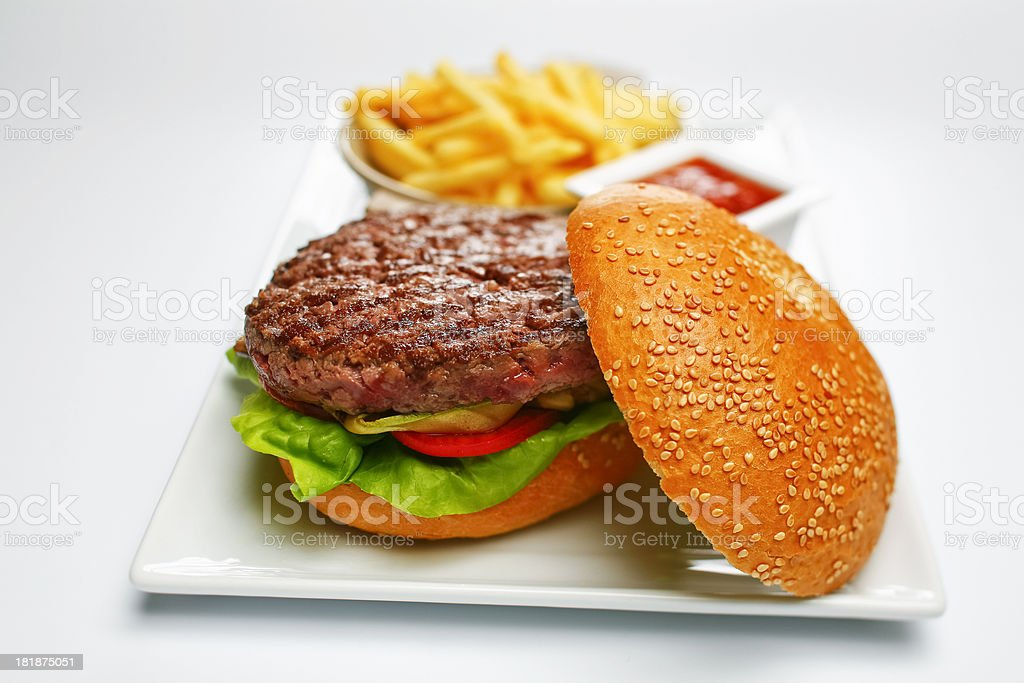 open burger and french fries royalty-free stock photo