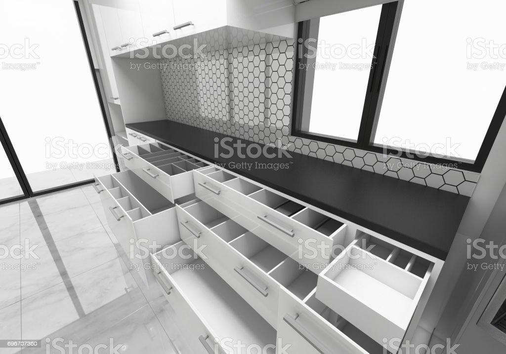 Fotografía de Abrir Ideas De Cocina Gabinetes Ilustración De Render ...