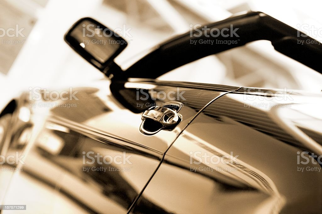 Open cabrio at dealership stock photo
