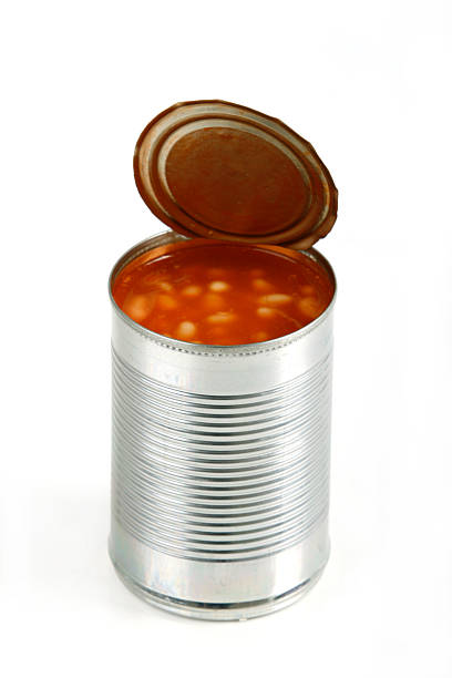open can of beans on white background - 錫 個照片及圖片檔