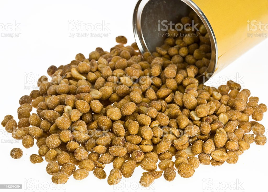 Open can of beer roasted peanuts royalty-free stock photo