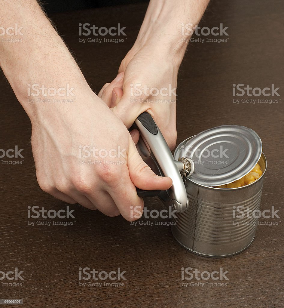 Open can with corn royalty-free stock photo