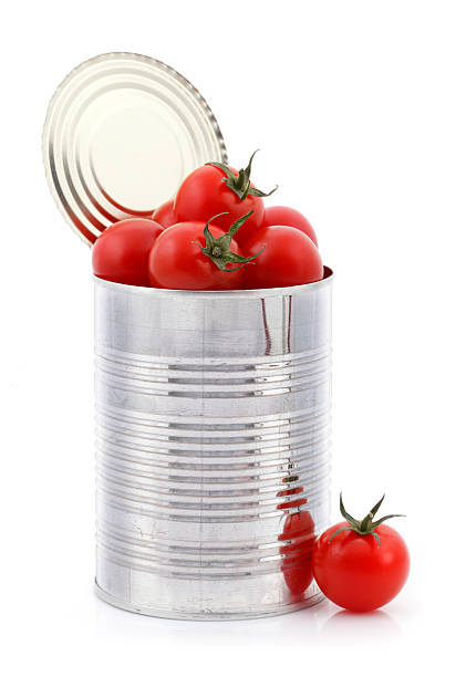 open can with fresh tomatoes inside - tomato can stock photos and pictures