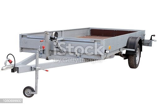 Open car trailer, isolated on white background.