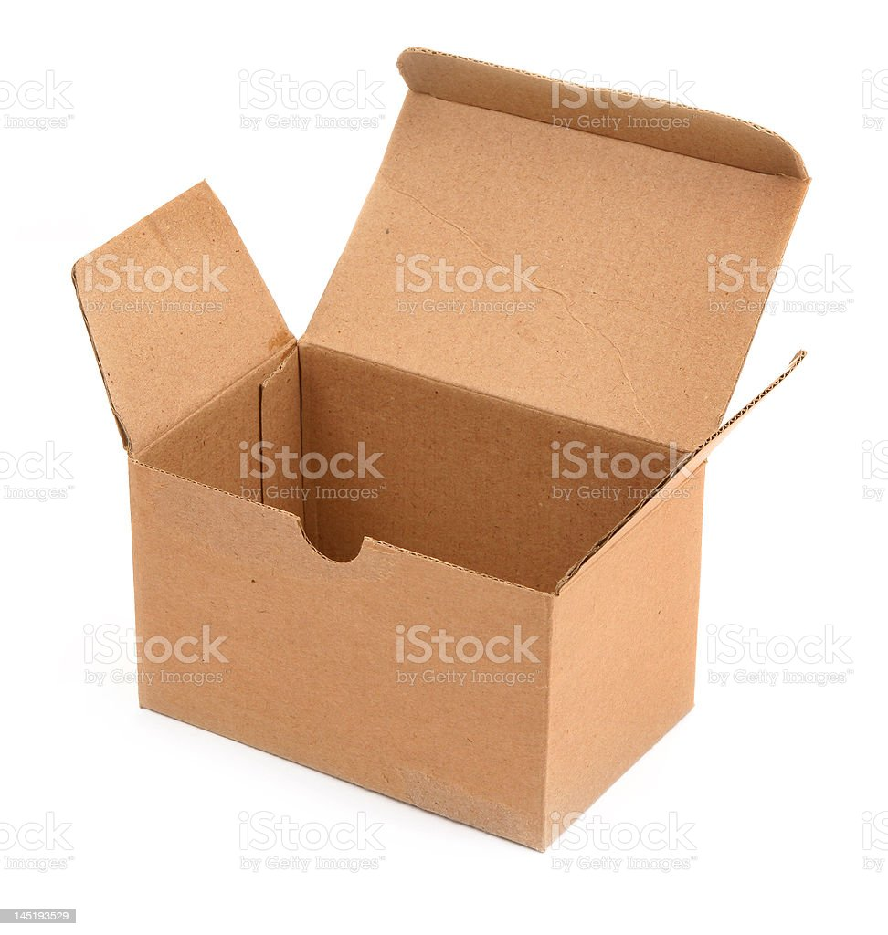 open cardboard box against white royalty-free stock photo