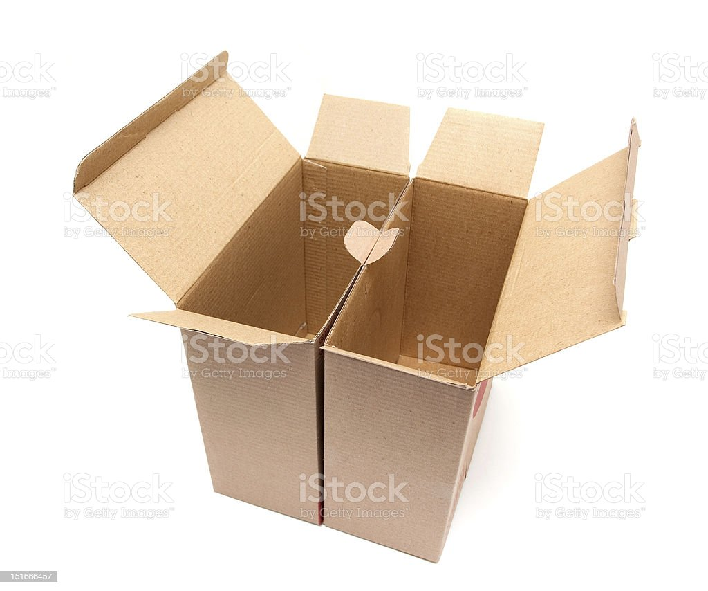 Open Cardboard Box isolated on white background royalty-free stock photo
