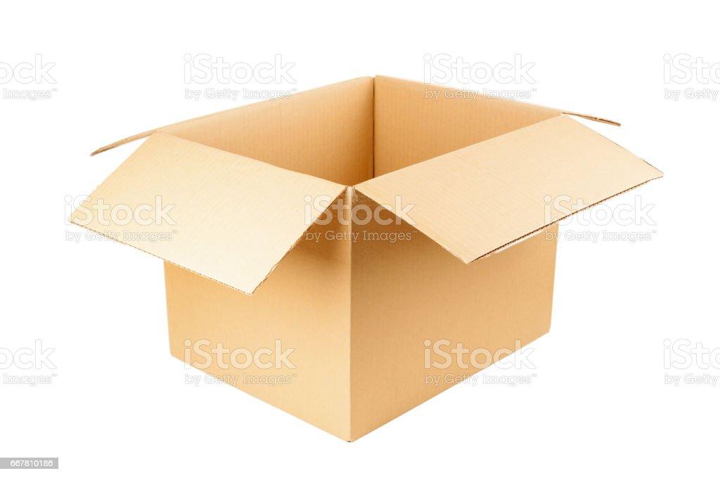 Open cardboard box isolated on white background stock photo