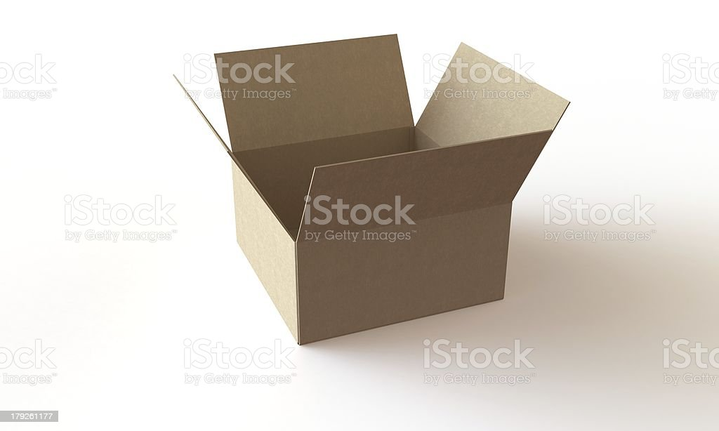 Open Cardboard box isolated on white in perfect condition stock photo
