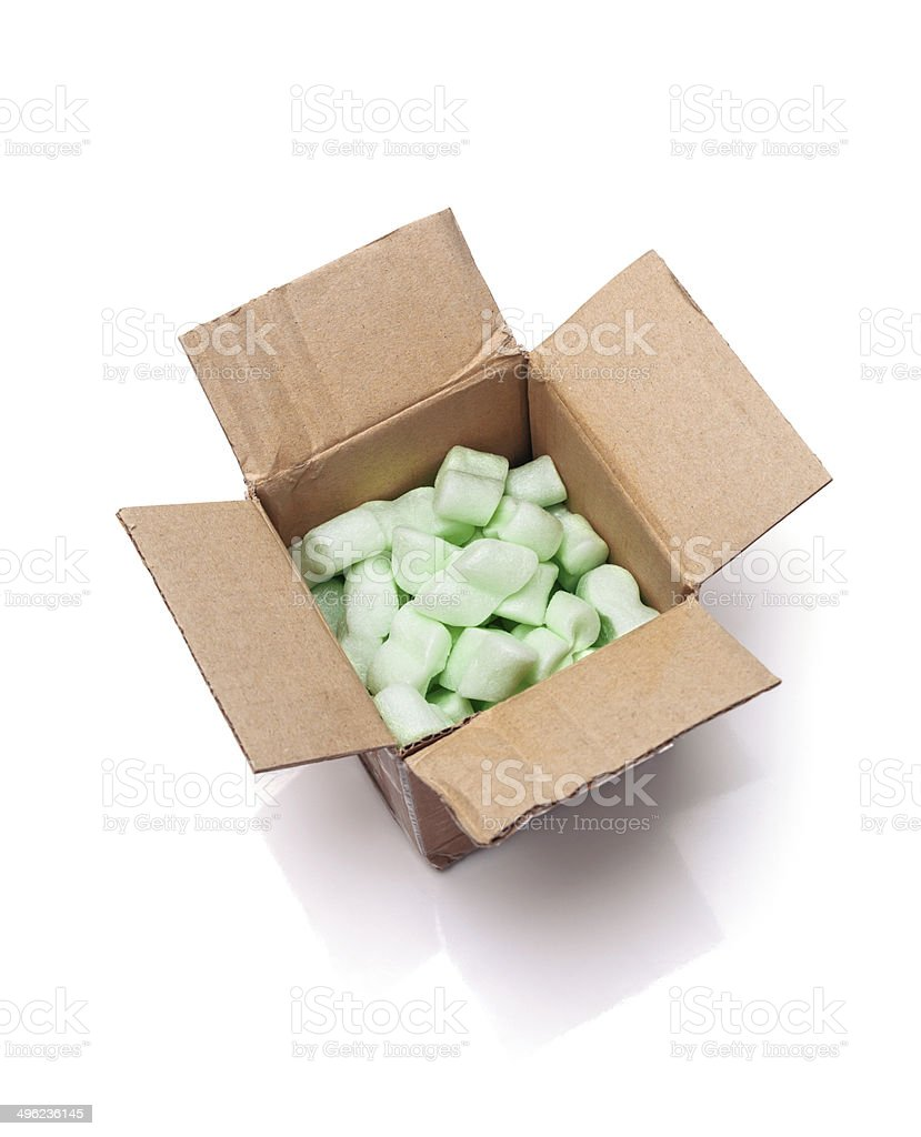 open cardboard box on white background stock photo