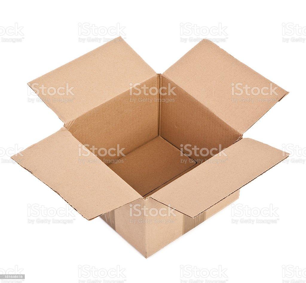 open cardboard box on white royalty-free stock photo