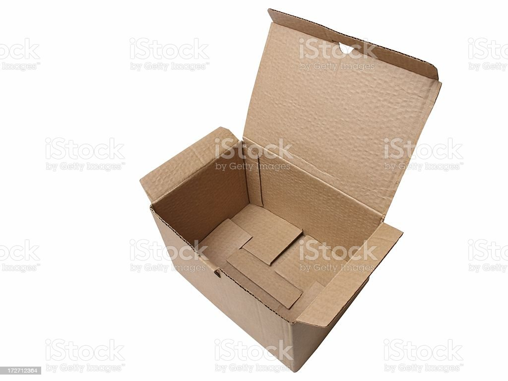 Open cardboard box (isolated) royalty-free stock photo