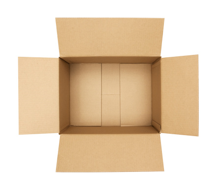 Open cardboard box isolated on white.Please also see my lightbox: