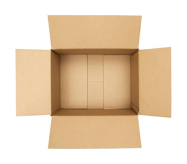 open cardboard box - kartonnen verpakking stockfoto's en -beelden