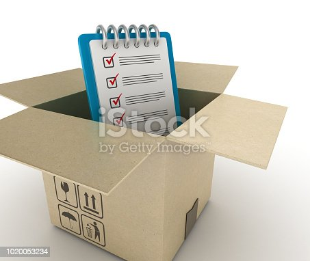537516368 istock photo Open CardBoard Box with Check List Clipboard - 3D Rendering 1020053234