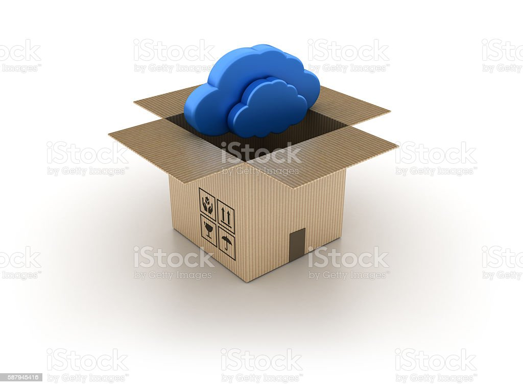 Open Cardboard Box with Cloud Computing stock photo