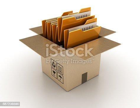 istock Open Cardboard Box with Computer Folders 587206590