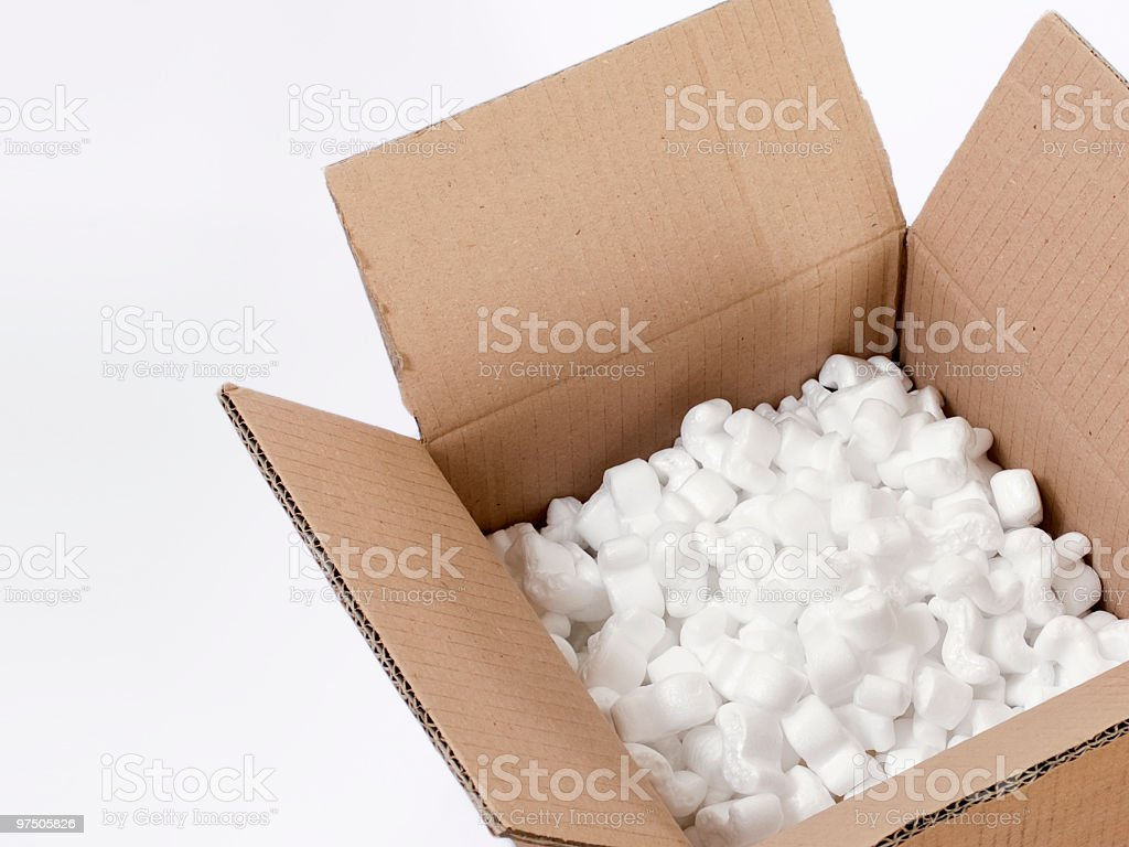 Open Cardboard Box with Peanuts royalty-free stock photo