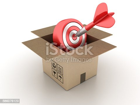istock Open Cardboard Box with Target 586076120
