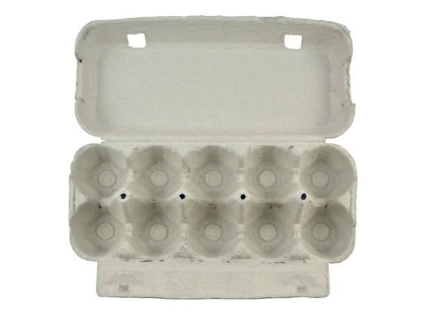 open cardboard egg box - eierverpackung stock-fotos und bilder