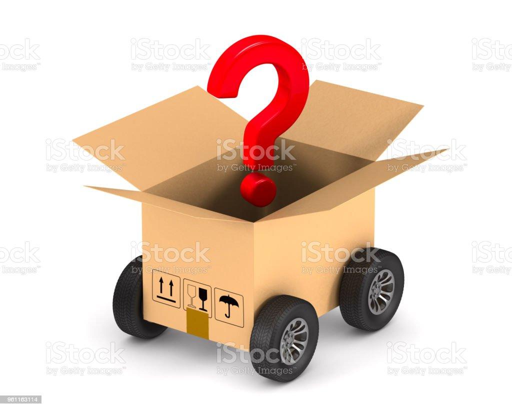 Cargo-Box mit Rad und Frage auf weißem Hintergrund zu öffnen. Isolierte 3D-Illustration – Foto