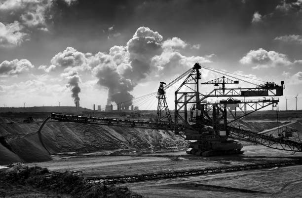 Open cast mining and coal fired power plant stock photo