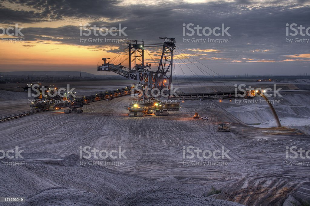 Open Cast Mining at night royalty-free stock photo