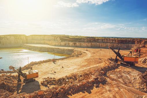 Open Cast Quarry Machines Excavators In Quarry Limestone Mining Stock Photo  - Download Image Now