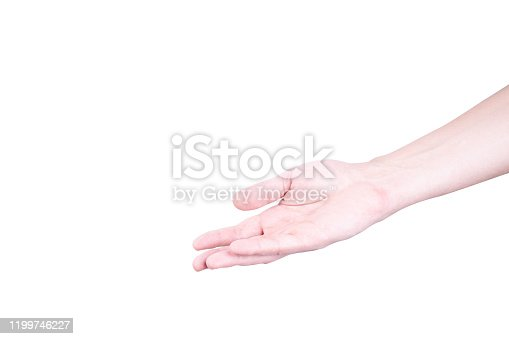 istock open caucasian palm isolated on a white background. gesturing concept. 1199746227