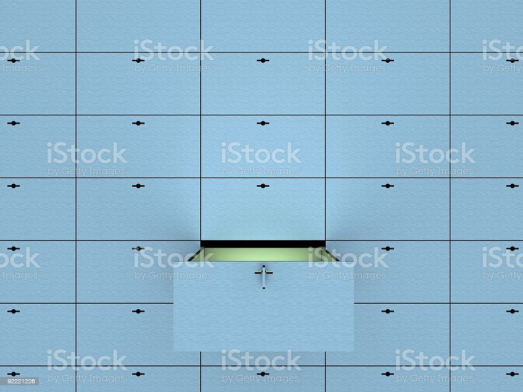 Open cell in safety deposit box. stock photo