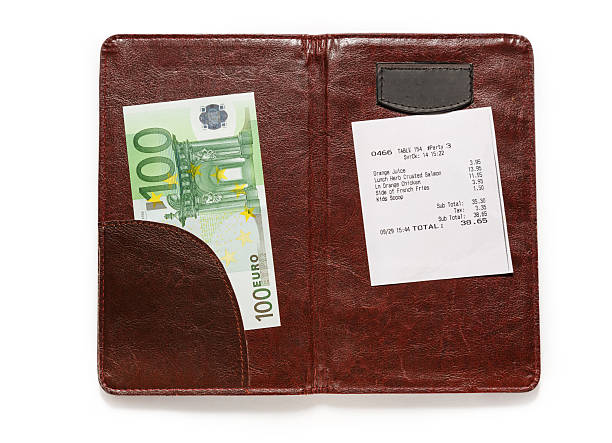 Open check folder with bill and euro – Foto