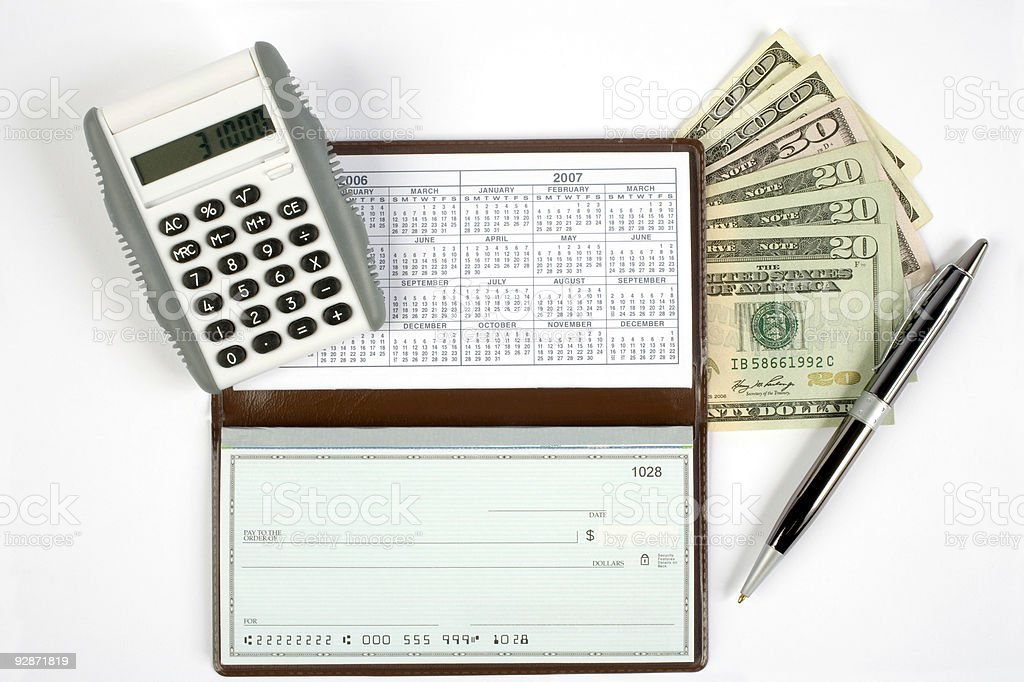 Open Checkbook with extras royalty-free stock photo
