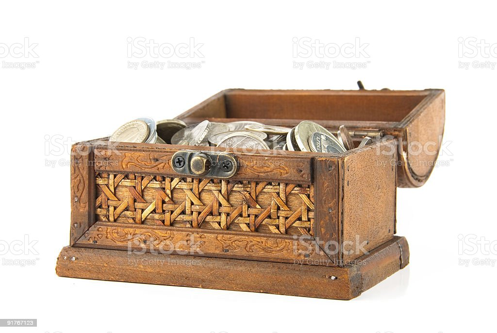 Open chest with lot of coins royalty-free stock photo